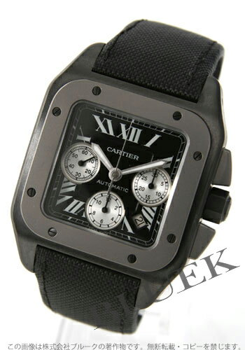 Cartier Santos 100 XL titanium automatic chronograph canvas leather black mens W020005
