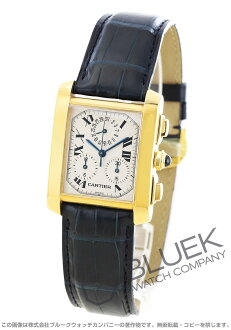 Cartier Francaise クロノリフレックス YG pure gold leather brown / white men's W5000556