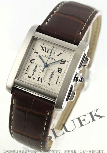 Cartier Francaise chronograph with crocodile leather Brown / silver mens W5101455