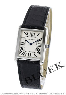 Cartier tank solo LM alligator leather Black / Silver mens W5200003