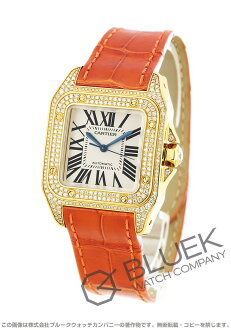 100 Cartier Santos MM YG pure gold diamond bezel automatic alligator leather orange / silver men WM502051