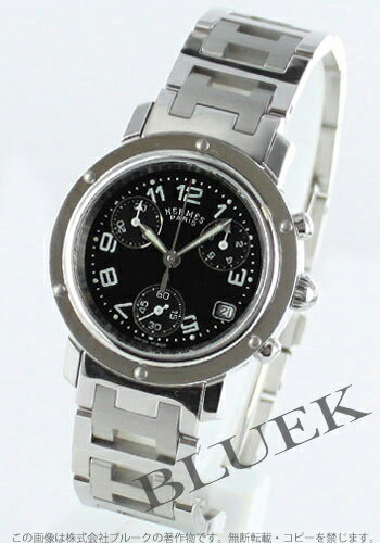 HERMES clipper chronograph black lady's push-type buckle CL1.310.330/3840