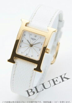 Hermes H watch leather GP white ladies HH1.201.130/UBC