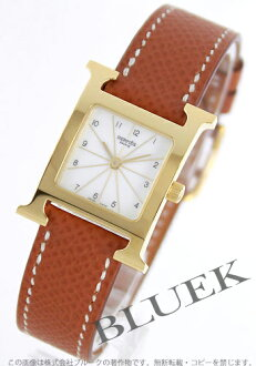 Hermes H watch Leather Brown/GA/GP white ladies HH1.201.130/UGO