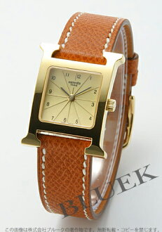 Hermes H watch Leather Brown/GA/GP gold ladies HH1.201.460/UGO