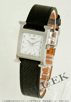 HERMES H watch leather black / white Lady's HH1.210.132/UNO