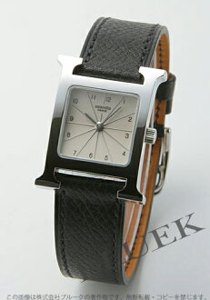 Hermes H watch leather Black / Silver ladies HH1.210.260/UNO