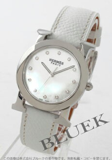 Hermes H watch round diamond index leather Shell white boys HR1.510.284/UBCM2