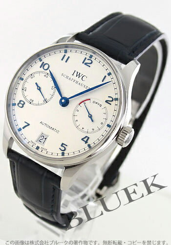 IWC Portuguese automatic 7 days alligator leather blue / silver mens IW500107