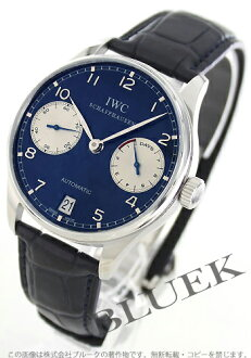 Xmas sale ★ IWC Portuguese automatic 7 days... leather Navy & silver men's IW500112