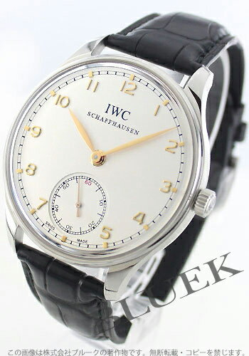 IWC Portuguese hand winding small second alligator leather Black / Silver mens IW545408