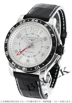 Longines Admiral automatic GMT alligator leather Black / Silver mens L3.668.4.76.2