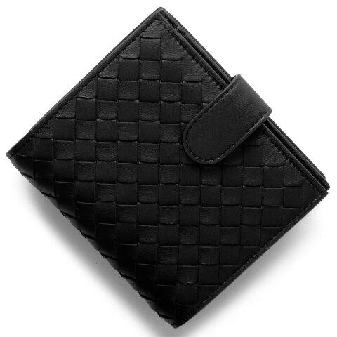 ボッテガヴェネタ (ボッテガ・ヴェネタ) 財布 BOTTEGA VENETA 二つ折財布 イントレチャート INTRECCIATO ブラック 121059 V001N 1000 メンズ
