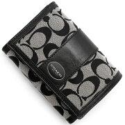コーチ COACH 二つ折財布 レガシー シグネチャー コンパクト ストライプ ブラックホワイト&ブラック 48465 SBWBK レディース