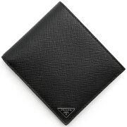 プラダ PRADA 二つ折財布 SAFFIANO CUIR 三角ロゴプレート ブラック&ソレイユイエロー 2MO738 2E3E C2P メンズ