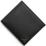 プラダ PRADA 二つ折財布 SAFFIANO CUIR 三角ロゴプレート ブラック&フッコレッド 2MO738 2E3E D9A メンズ