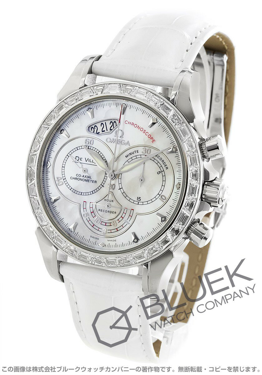 Omega-Devil co-axial Chronoscope Palladium DIA bezel leather white shell men's 422.98.41.50.05.001