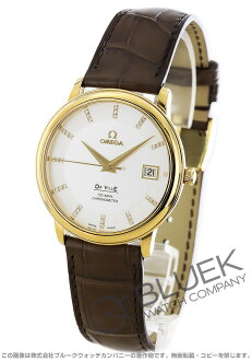 Omega-Devil prestige 4617.35.02 YG pure gold diamond index coaxial Leather Brown / silver mens