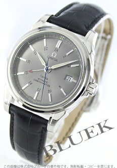 Omega-Devil co-axial GMT 4833.40.31 chronometer automatic with crocodile leather black / grey mens