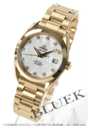 Omega Seamaster Aqua Terra 2104.75 YG pure gold diamond index co-axial chronometer white shell boys