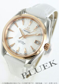 Omega Cima star aqua terra RG pure gold chronometer automatic leather white shell men 231.23.39.21.55.001