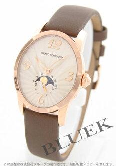 ジラールペルゴキャッツアイムーンフェイズ PG pure gold automatic satin leather brown / silver Lady's 80490.0.52.1151
