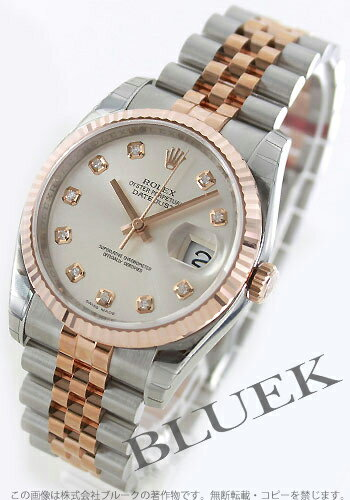 Rolex Datejust Ref.116231G RG Combi index diamond silver mens