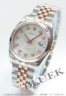 Rolex Ref.116231J Datejust diamond index PG Combi silver mens