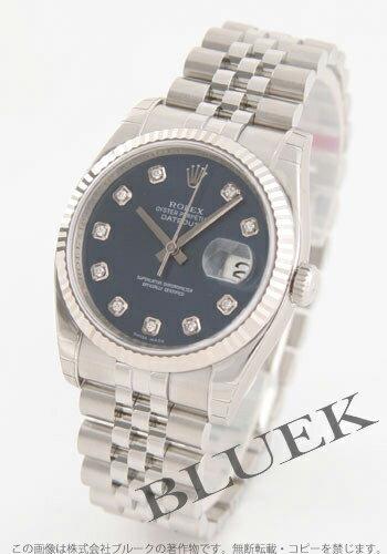 Rolex Ref.116234G date just diamond index WG bezel blue men