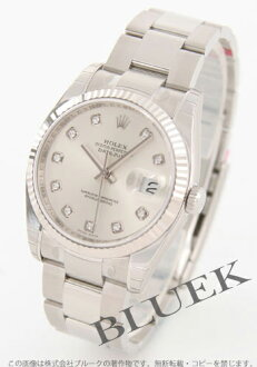 Rakuten Japan sale ★ Rolex Ref.116234G Datejust diamond index WG bezel triple breath silver mens