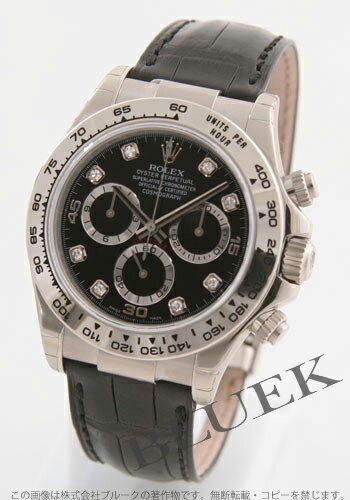 Rolex Ref.116519G Cosmograph Daytona WG Wilsdorf 8 P diamond crocodile leather black mens