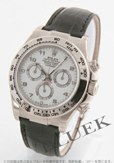 Arabian men's Rolex Ref.116519 Cosmograph Daytona WG Wilsdorf crocodile leather black / white