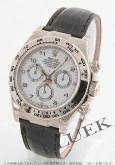 Arabian men's Rolex Ref.116519 Cosmograph Daytona WG Wilsdorf crocodile leather black / white
