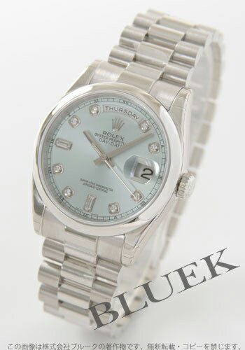 Rolex Ref.118206 Oyster Perpetual Day-date Platinum solid diamond index ice blue mens