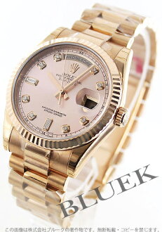 Rolex Oyster Perpetual Day-Date Watch Ref.118235F PG pure gold diamond index pink mens