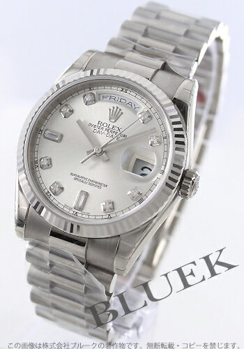 Rolex Ref.118239 Oyster Perpetual Day-Date Watch WG pure gold diamond index silver mens