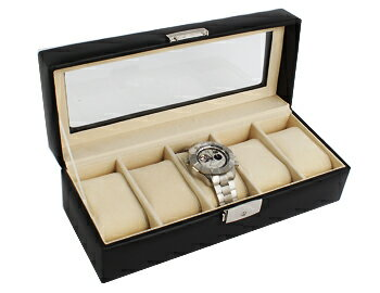 Leather luxury watch collections case 5 pieces storage black RWB5PL