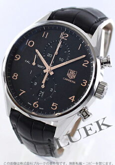 Tag Heuer Carrera calibre 1887 chronograph with crocodile leather black mens CAR2014... FC6235