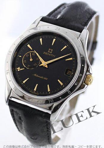 Zenith class elite GMT automatic 682 オーストリッチレザー black mens 01-0033 - 682 - 22-C626