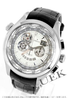 Zenith class traveler multi-city L primero self-winding watch chronograph leather black / silver men 03.0520.4037/01.C492