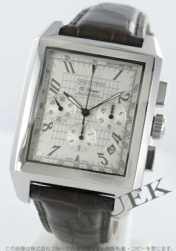 Zenith port Royale open concept Eli Primero Leather Brown / silver mens 03.0550.400/01.C491