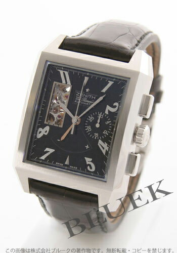 Zenith Grand port Royale open chronograph with crocodile leather black mens 03.0550.4021/21.C503