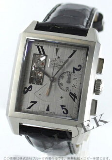 Zenith Grand port Royale opened Eli Primero alligator leather black / grey mens 03.0550.4021/76.C503