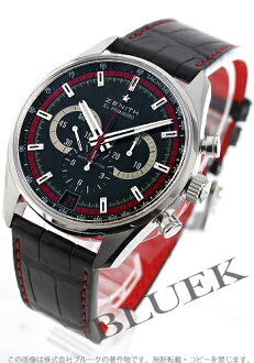 Zenith El Primero 36000 VpH automatic chronograph with crocodile leather black mens 03.2043.400/25.C703