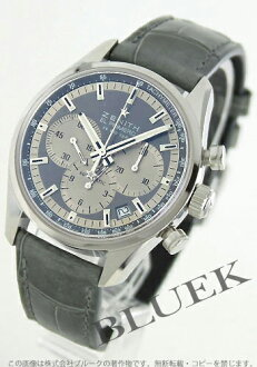 Zenith El Primero 36000 VpH chronograph tachymeter alligator leather grey & silver men's 03.2150.400/21.C706