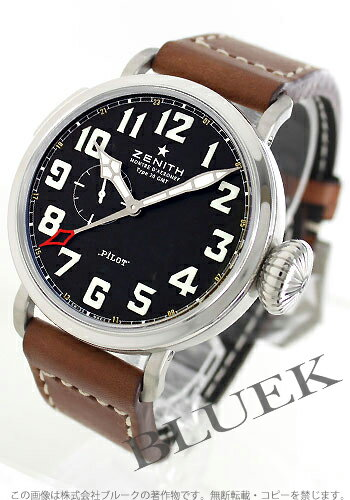 Zenith pilot aeronef type 20 GMT automatic leather brown / black men's 03.2430.693/21.C723