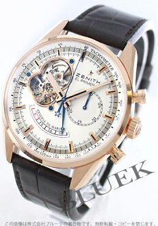 Zenith L primero Kurono master opening RG pure gold leather dark brown / silver men 18.2080.4021/01.C494
