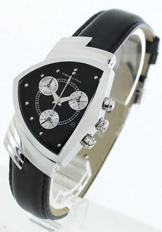 Hamilton Ventura chronograph leather black & silver men's H24412732