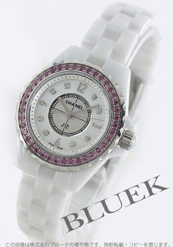 CHANEL sports J12 pink sapphire bezel diamond index ceramic white shell Lady's H3243