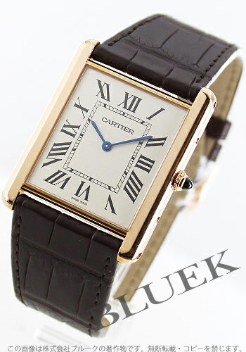 Cartier タンクルイ XL PG pure gold hand-rolled with crocodile leather Brown / silver mens W1560017